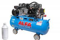 Компрессор 400 л/мин 2,2 кВт - 100 л. AL-FA ALC100-2 |  Чугунный блок (2-x поршневый масляный)