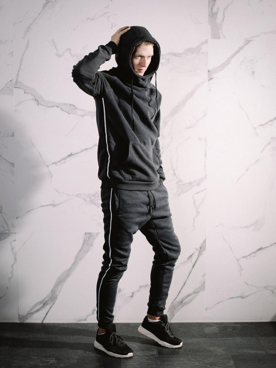 😜 Спортивный костюм - Костюм мужской на флисе серый