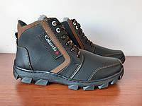 Чоловічі зимові черевики чорні прошиті теплі ( код 4413 ), фото 1