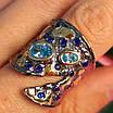 Стильное серебряное кольцо с позолотой, чернением и шпинелью - Брендовое серебряное кольцо, фото 10