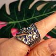 Стильное серебряное кольцо с позолотой, чернением и шпинелью - Брендовое серебряное кольцо, фото 9
