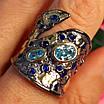 Стильное серебряное кольцо с позолотой, чернением и шпинелью - Брендовое серебряное кольцо, фото 8