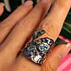 Стильное серебряное кольцо с позолотой, чернением и шпинелью - Брендовое серебряное кольцо, фото 7