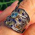 Стильное серебряное кольцо с позолотой, чернением и шпинелью - Брендовое серебряное кольцо, фото 6