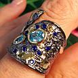 Стильное серебряное кольцо с позолотой, чернением и шпинелью - Брендовое серебряное кольцо, фото 5