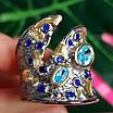Стильное серебряное кольцо с позолотой, чернением и шпинелью - Брендовое серебряное кольцо, фото 4
