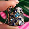 Стильное серебряное кольцо с позолотой, чернением и шпинелью - Брендовое серебряное кольцо, фото 3