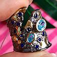 Стильное серебряное кольцо с позолотой, чернением и шпинелью - Брендовое серебряное кольцо, фото 2
