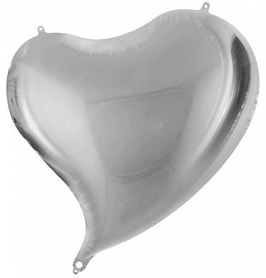 Сердце скошенное Серебряный 47*50