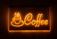 Светодиодная Лед вывеска Кофе (Табличка Coffee Led) Желтая