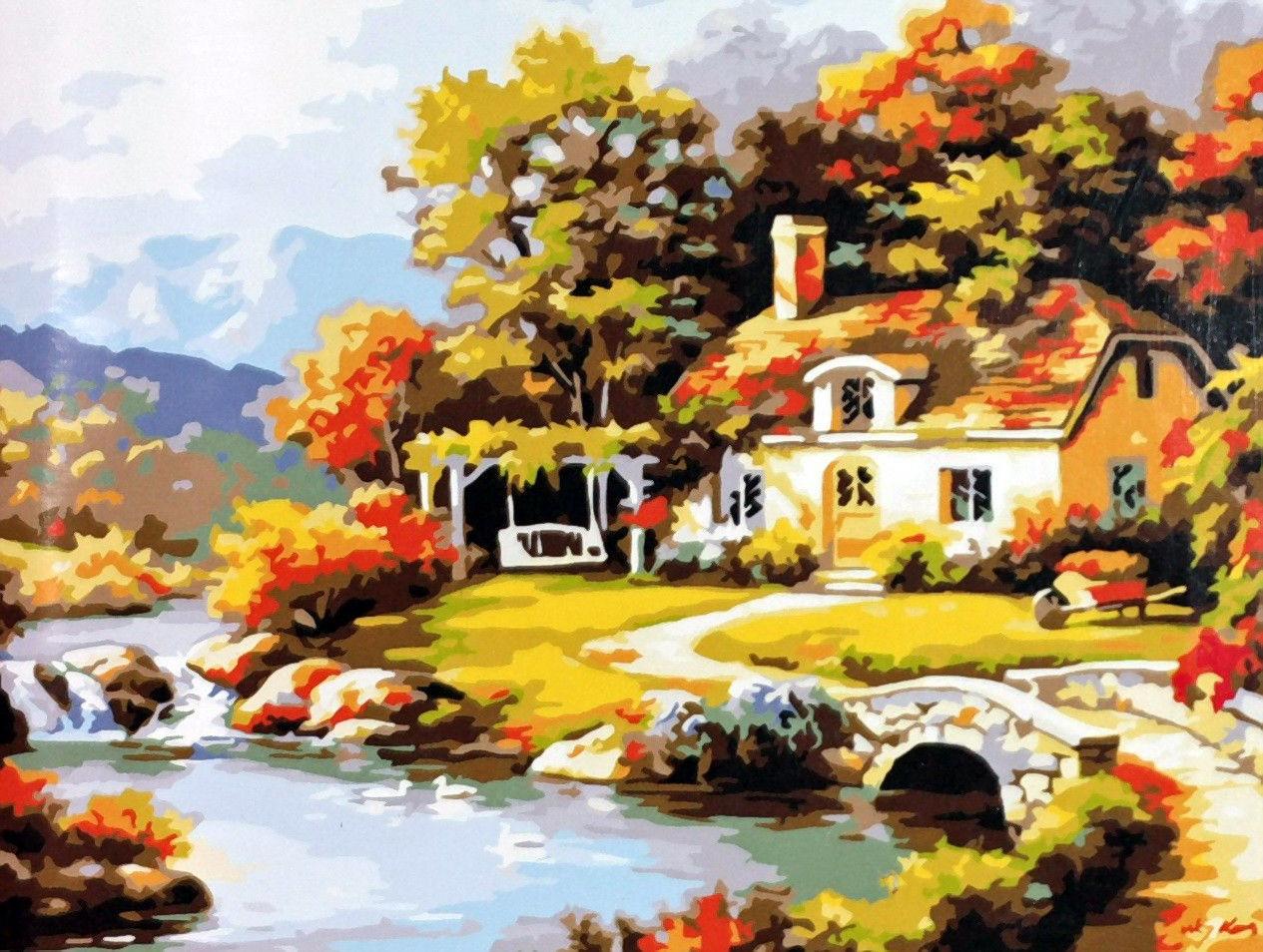 Картина за номерами 40×50 див. Babylon Затишний будинок біля річки Художник - Сунг Кім (MS612)