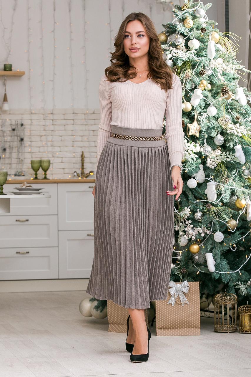 Женская вязаная юбка плиссе-макси Размер oversize 44-48