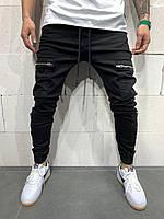 Мужские джинсы из толстой ткани черные с карманами на молниях