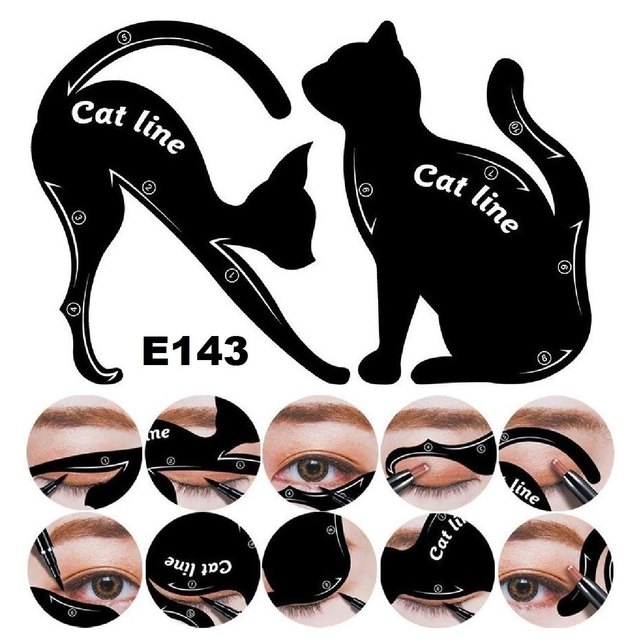 Набор трафаретов для стрелок и теней (8 видов) Котики, Черный