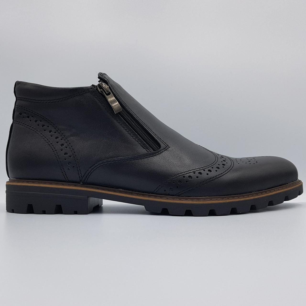 Зимние кожаные мужские ботинки Dan Shoes черные на меху B0034/34