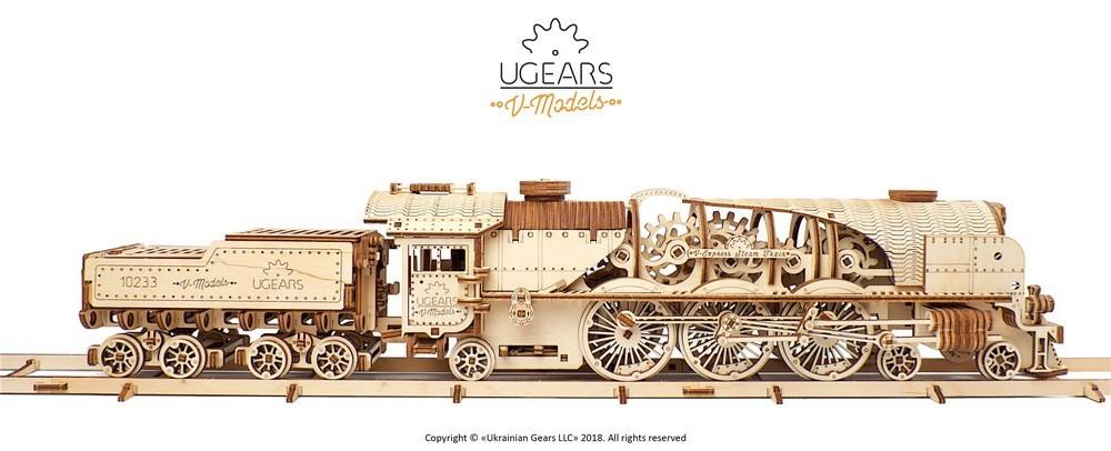 Механічна модель Локомотив з тендером V-Експрес ,UGEARS
