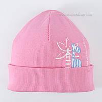 Трикотажная шапочка для девочки Жирафчик розовая