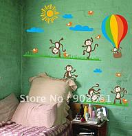 Виниловая Наклейки для детской на стену, окно, мебель Обезьянки