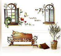 Наклейки интерьерные Виниловые Окна в сад, скамейка