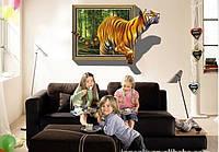 Виниловая Наклейка Тигр из окна, 100 х 70 см.