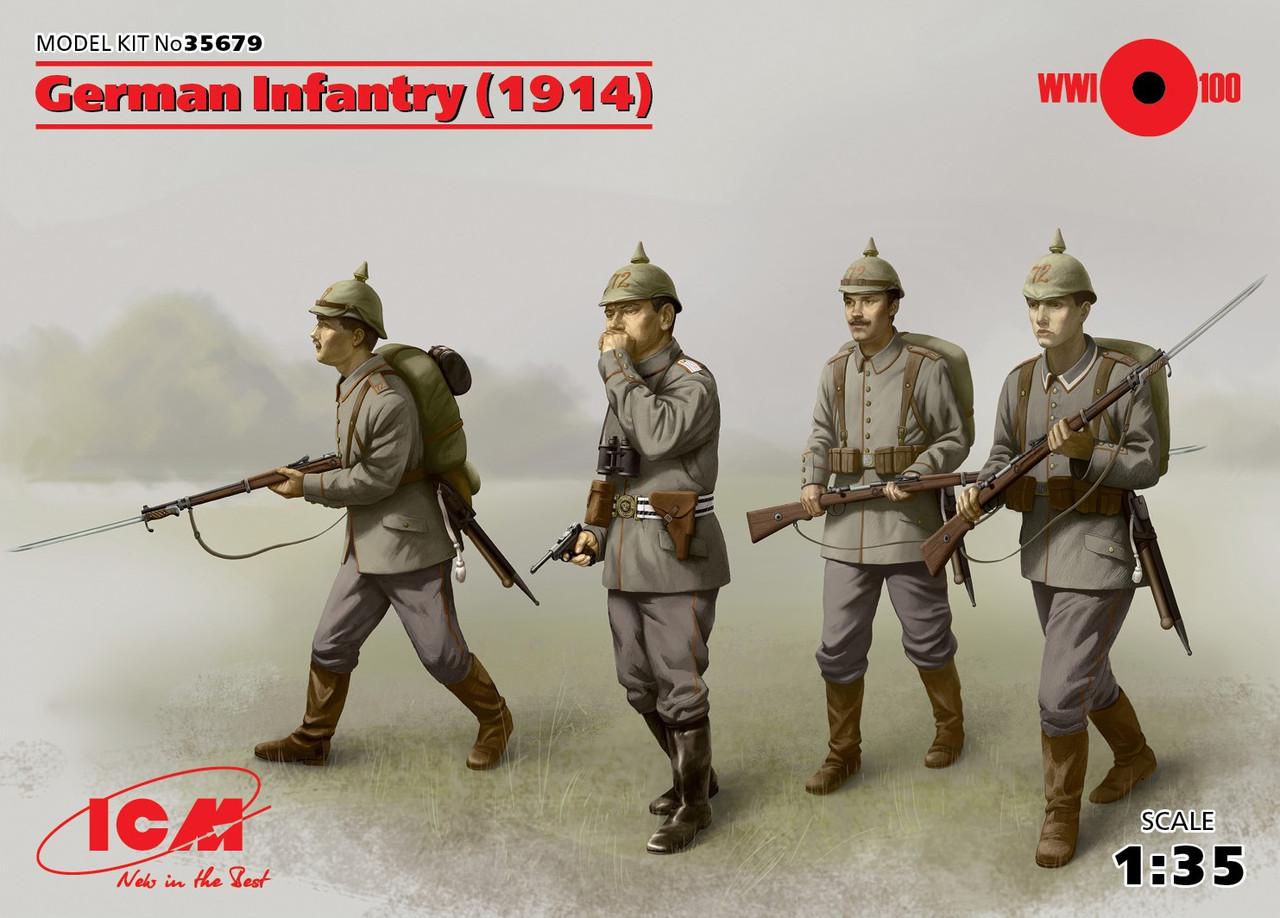 Набор из четырех фигур для сборки. Германская пехота 1914 г. 1/35 ICM 35679