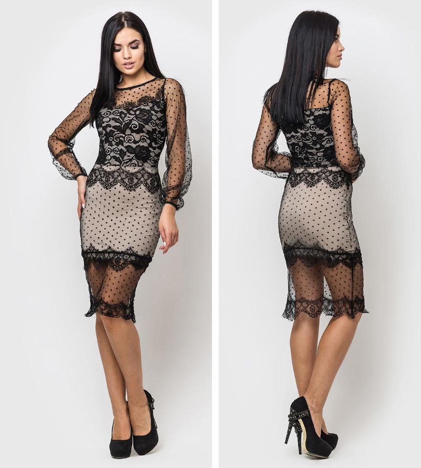 """Шикарное вечернее платье женское с длинным рукавом в сетку горох """"Jasmin"""""""