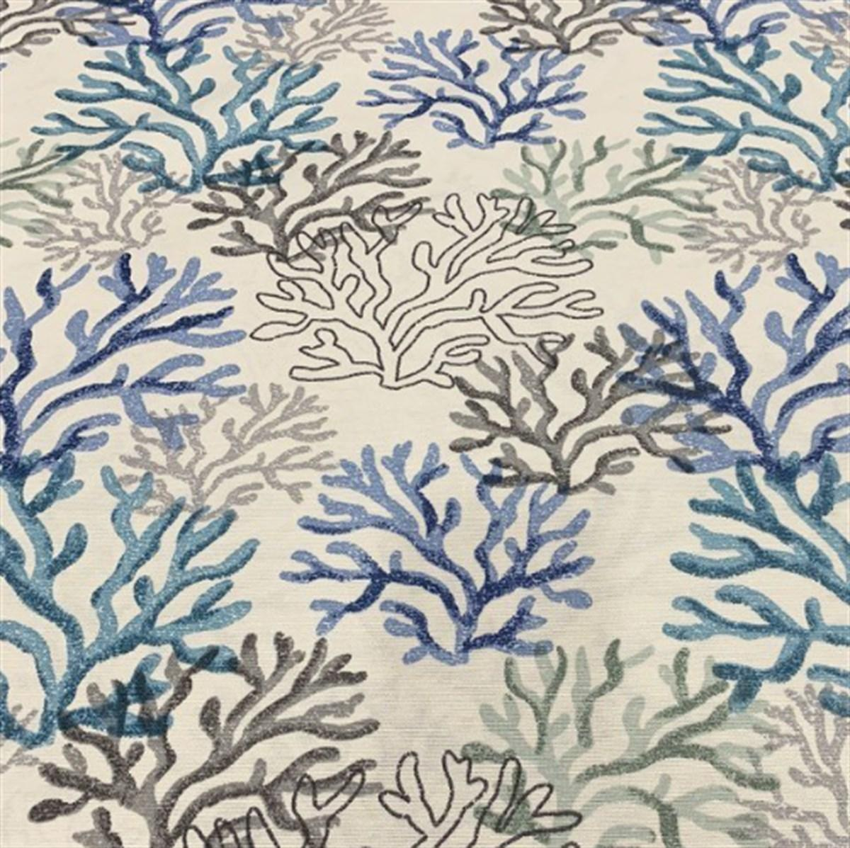 Декоративная ткань с пропиткой от загрязнений с рисунком в морской тематике