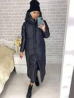 Женское длинное зимнее пальто на кнопках