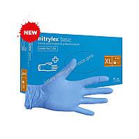 Перчатки нитриловые смотровые нестерильные неопудренные синие XL 100 шт/уп (10 уп/ящ) NITRYLEX BASIC
