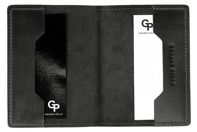 Кожаная черная обложка для паспорта Grande Pelle (252110), фото 2