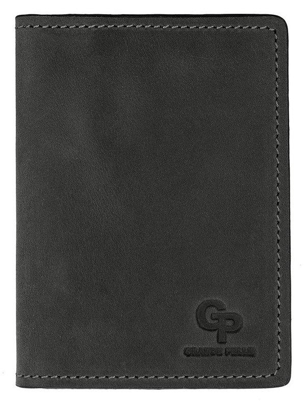 Кожаная черная обложка для паспорта Grande Pelle (252110)