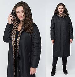Длинное пальто женское демисезонное с тинсулейтом черное
