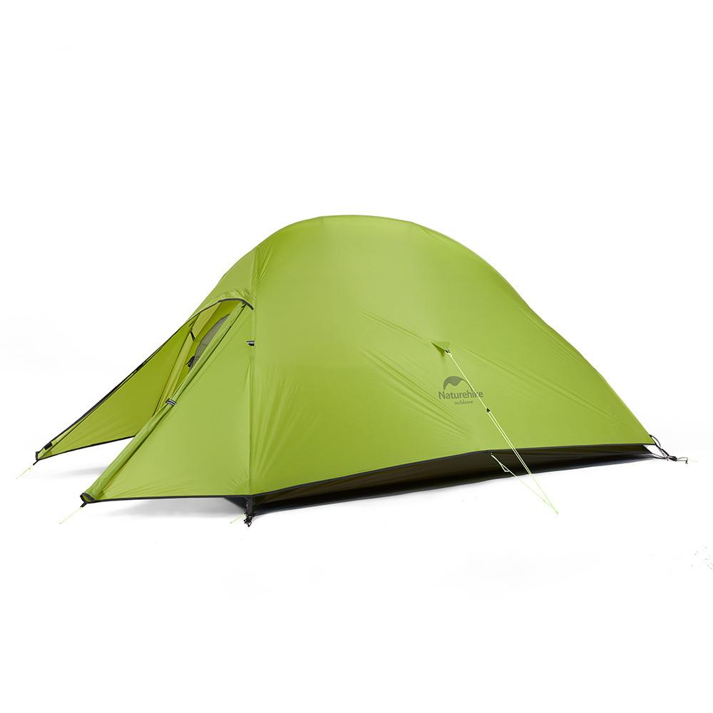 Двухслойная, сверхлегкая, 2-х местная палатка с алюминиевыми дугами и силиконовым тентом, зеленая.