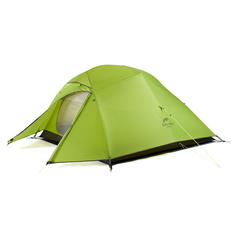 Двухслойная, сверхлегкая, 3-х местная палатка с алюминиевыми дугами и силиконовым тентом, зеленая.