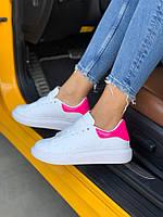 Женские кроссовки Alexander McQueen Pink, белые-розовые неон. Размеры (36,37,38,39,40)