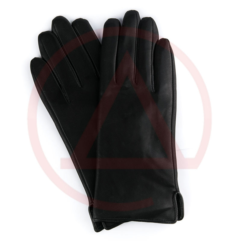 Черные перчатки женские на плюше Perch-5