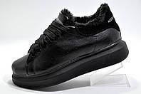 Зимние женские кроссовки в стиле Alexander McQueen, Black (На меху)