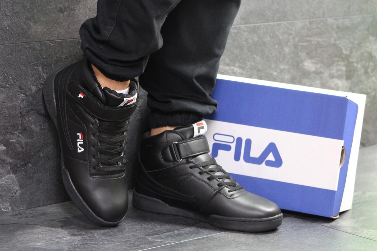 Высокие зимние мужские кроссовки Fila,черные,44р