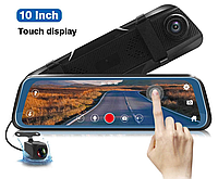 """DVR L1023 Full HD Зеркало видеорегистратор 2 камеры 10"""" сенсорный экран"""