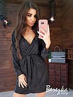 Женское красивое сияющее платье на запах,черного цвета
