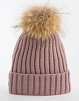 Вязаная шапка на флисе Рокси темная пудра