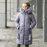 Зимове пальто на дівчинку з опушкою . Р-ри 134-152, фото 1
