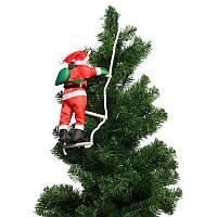 Новогодняя фигурка Дед Мороз 25 см на лестнице