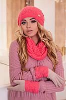 Комплект «Верона» (шапка, снуд и перчатки)  (коралловый) Braxton