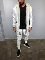 Утепленная кофта худи мужская белого цвета с овчиной внутри
