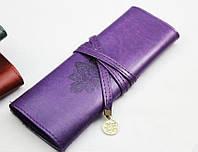 Мягкий чехол, косметичка, пенал, футляр для макияжных кистей, фиолетовый цвет, фото 1