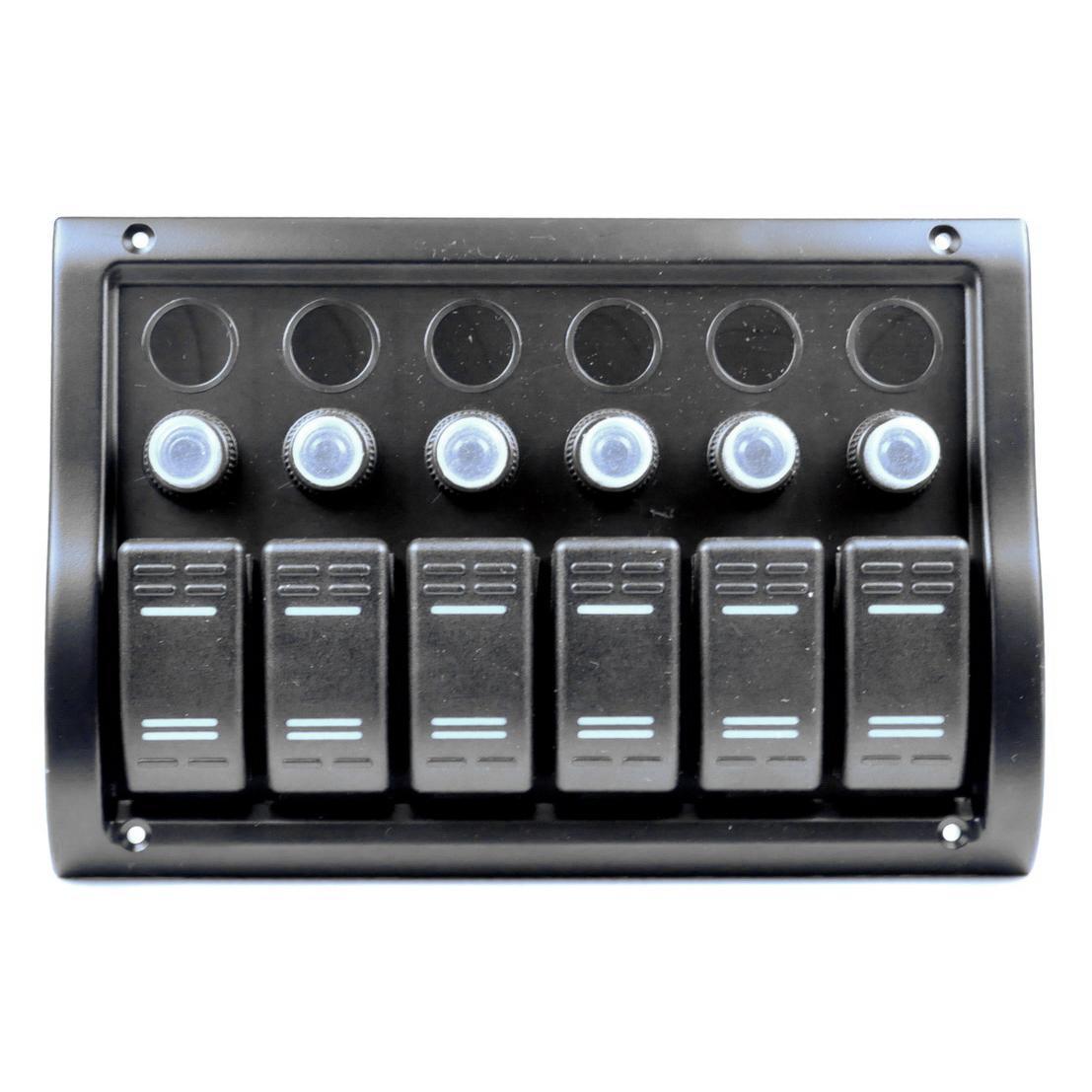 Панель на 6 переключателя (1 под сигнал) Тайвань 10016-BK