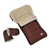 Конверт KIDS в санки і коляску на овчині коричневий, фото 1