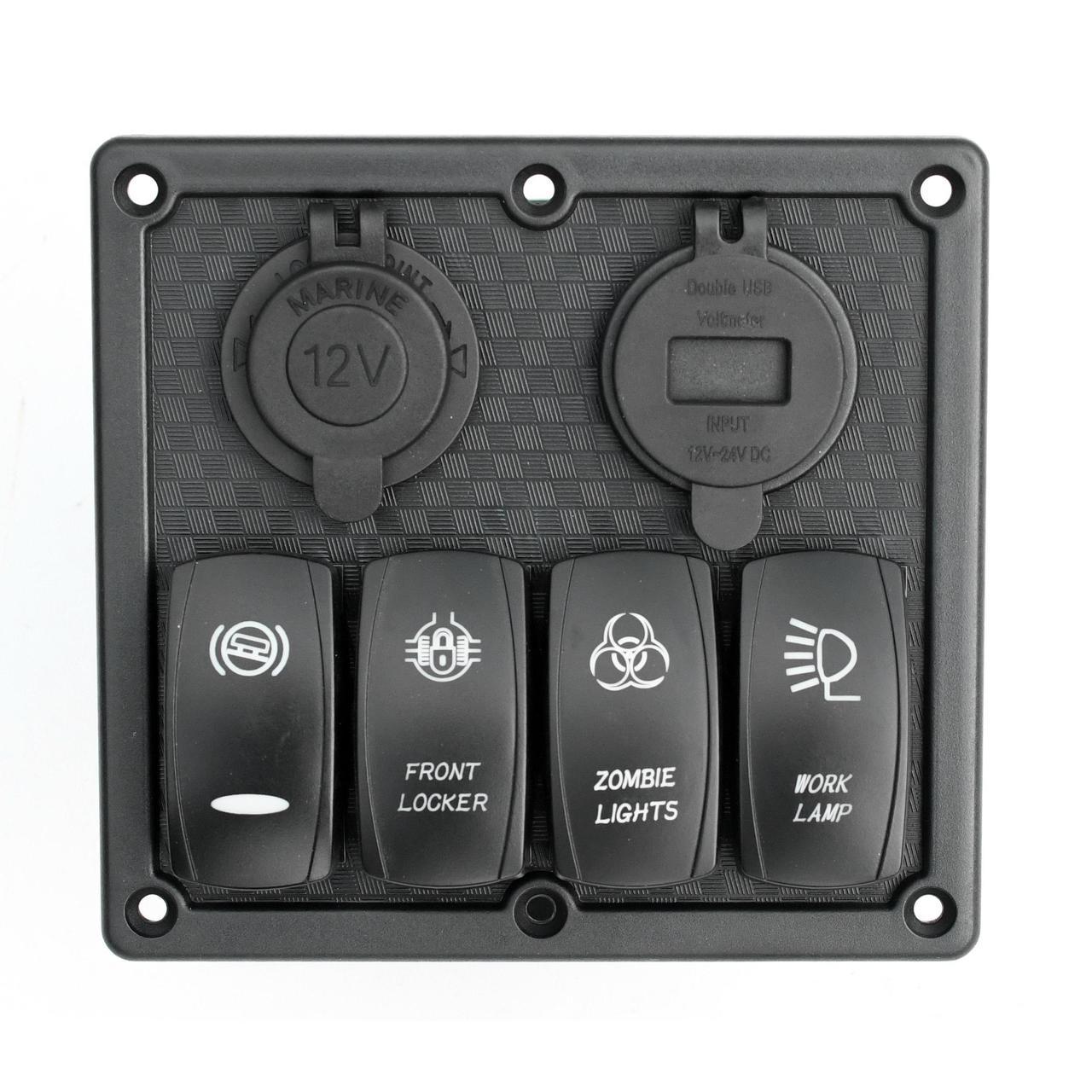 Панель переключения  на 4 кнопки с 4.2A USB вольтметром и прикуривателем под карбон 4 YuJ