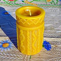 """Воскова свічка """"В'язана"""" з 100% бджолиного воску; Восковая свеча """"Вязанная"""" из 100% пчелиного воска, фото 1"""